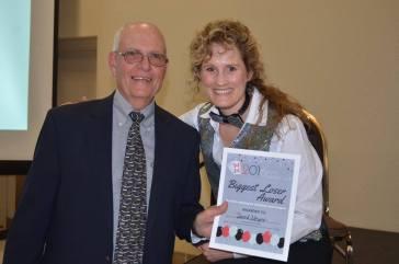 """Biggest Loser"" Award goes to David Meyer — with Sarah Joseph at Sangre de Cristo Arts Center."