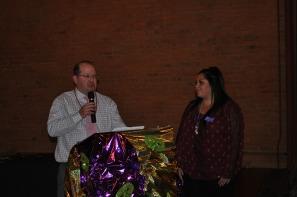 Matt Centner presents the Southern Colorado Press Club grant to the Sangre de Cristo Arts and Conference Center