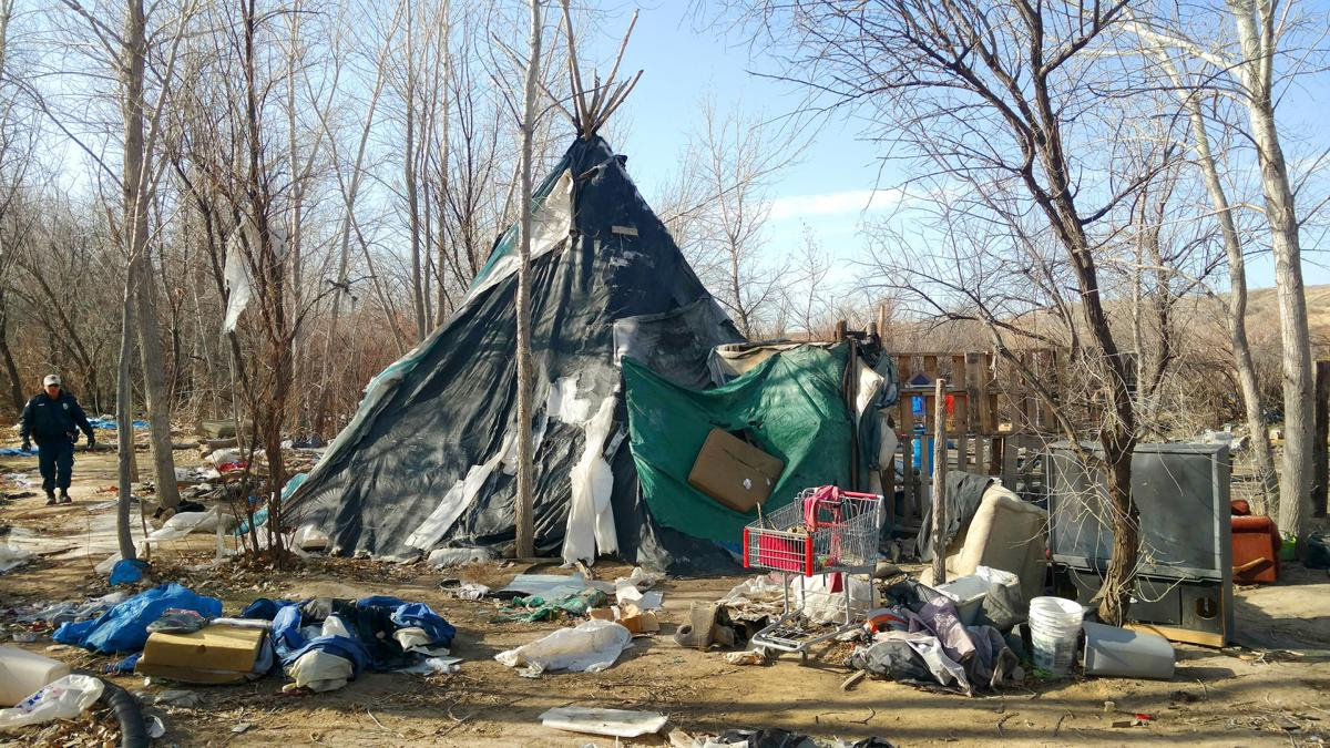 A homeless camp in Pueblo. Image courtesy, The Pueblo Chieftain/Jon Pompia.