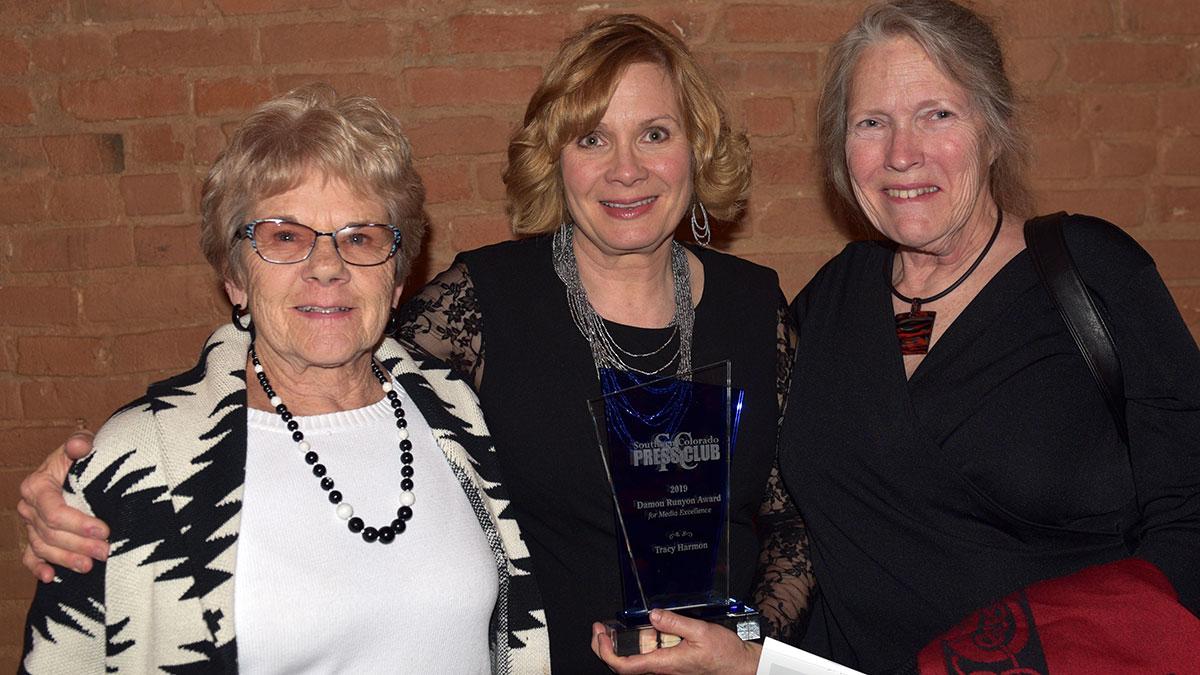 Damon Runyon Award winner Tracy Harmon with her cherished mentors