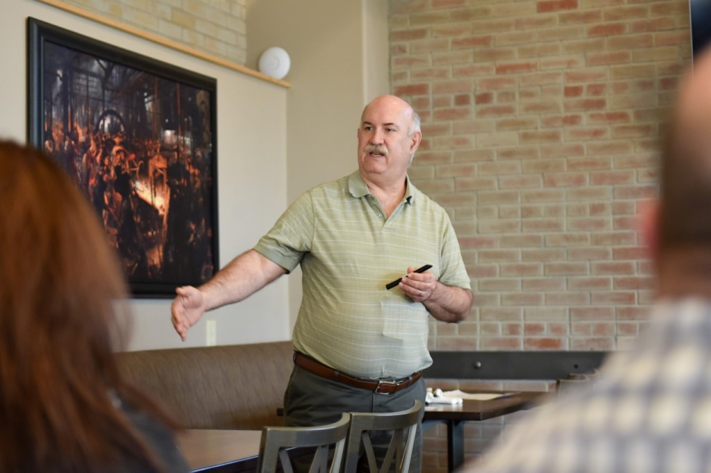 Site Project Manager Walton Levi addresses members of the Southern Colorado Press Club on March 9 during their monthly membership meeting.